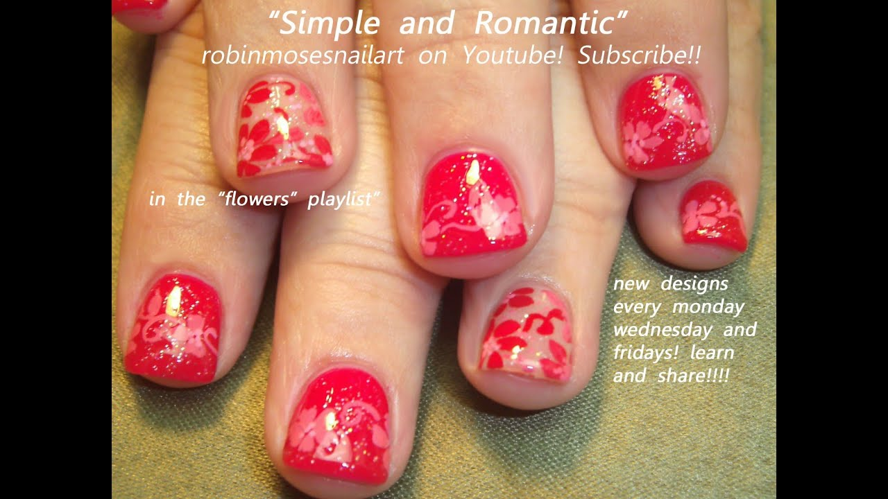 YouTube Premium - Easy Nail Art For Short Nails Cute Red Flower Nail Design - YouTube