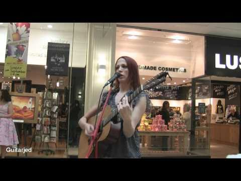 Hayley  Gaftarnick - Busking for Cancer Research at Meadowhall Sheffield