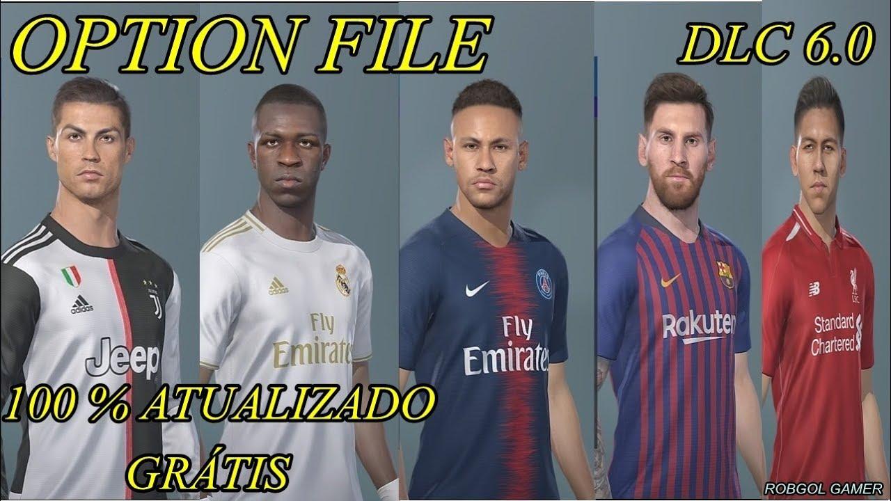 OPTION FILE - PES 2019 - PS4 - KITS 2019/2020 - LIGAS - TRANSFERÊNCIAS -  LOGOS - DLC 6 0