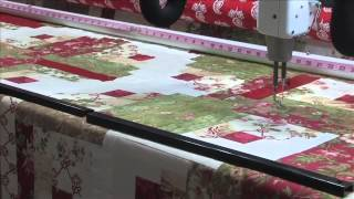 Red Curved Log Cabin Quilt