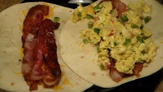 How To Make A Jumbo Breakfast Wrap: Delicious Bacon Egg & Cheese Breakfast Burrito