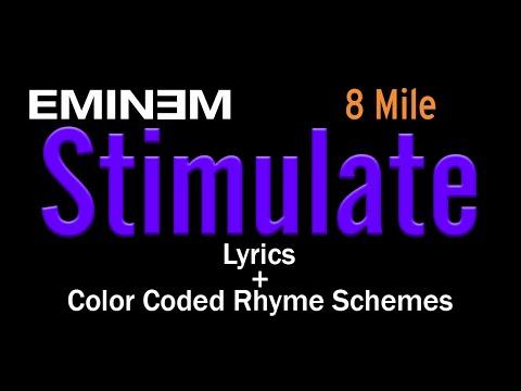 Eminem - Stimulate - [Lyric Video & Colored Rhyme Scheme]