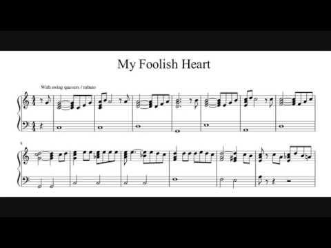 My Foolish Heart - C Major - Piano Sheet Music (My Transcription)