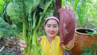 Tasty Beef Cooking Chinese Kale Recipe  Cooking With Sros