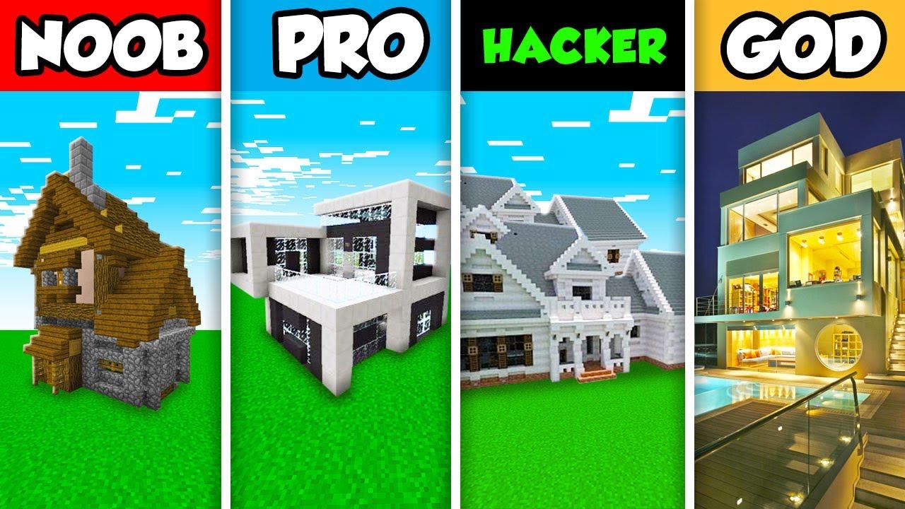Download Minecraft NOOB vs. PRO vs. HACKER vs GOD : LUXURY FAMILY HOUSE BUILD CHALLENGE in Minecraft!