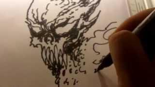 Sharpie Marker Demon Skull Sketching