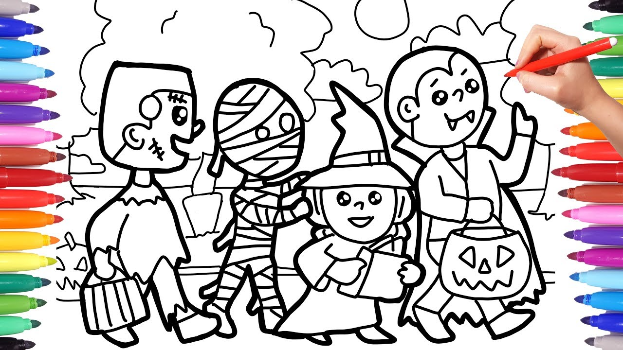Halloween Coloring Pages For Kids Trick Or Treat Coloring Pages Halloween Costumes Coloring Pages Youtube