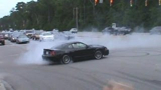 Mustang Week 2012 Leaving Show Burnouts & Pullouts & Myrtle Beach Speedway Burnout Contest