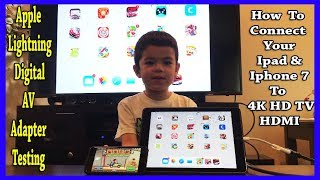 Apple Lightning Digital AV Adapter Unbox, How toConnect toTV HDMI, Ipad, Iphone7 & Testing the Games