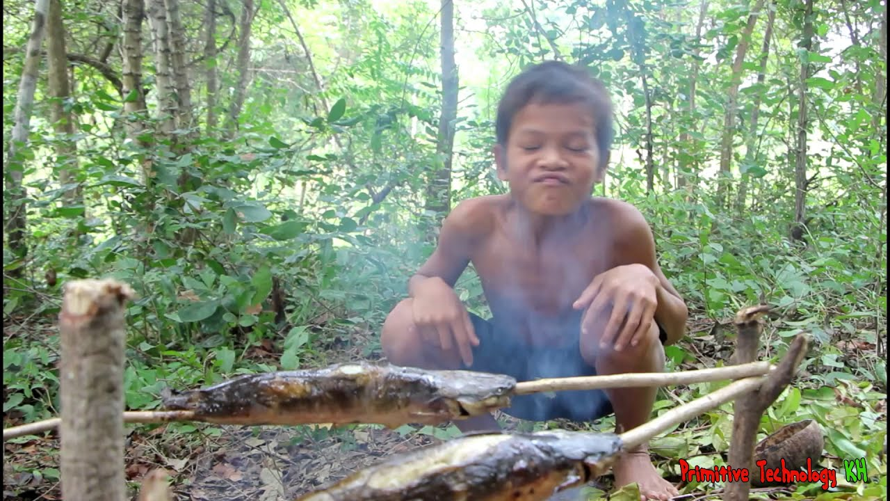 Primitive Technology - Eating delicious - Awesome cooking fish