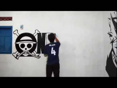 One piece logo mural on the wall