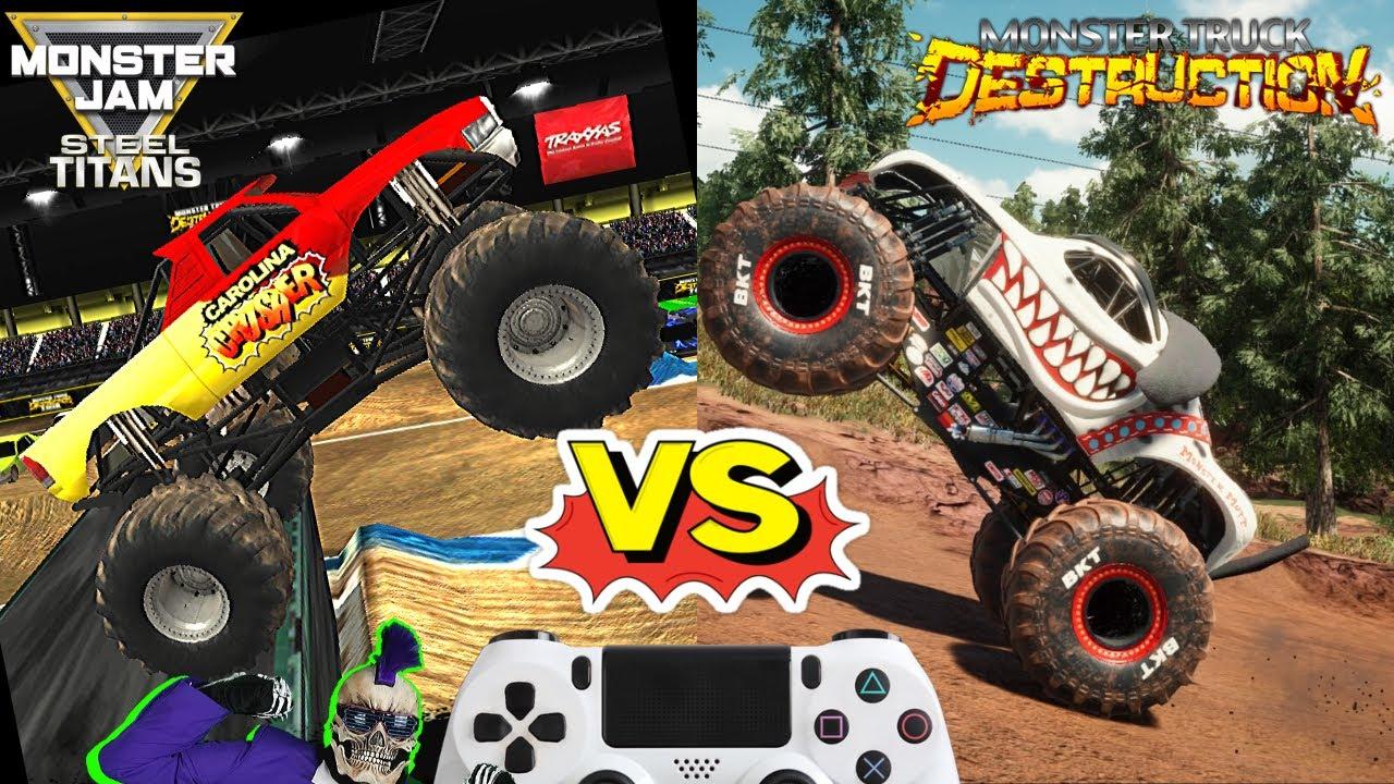 Monster Jam Steel Titans Vs Monster Truck Destruction Video Game 2020 Freestyle Championship Youtube