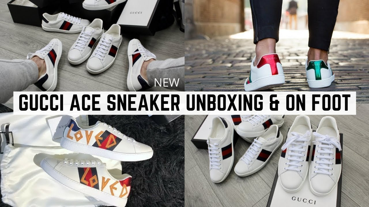 f287c9a8c90 Mens Gucci Ace Sneakers New 2018 Unboxing   On Foot - YouTube