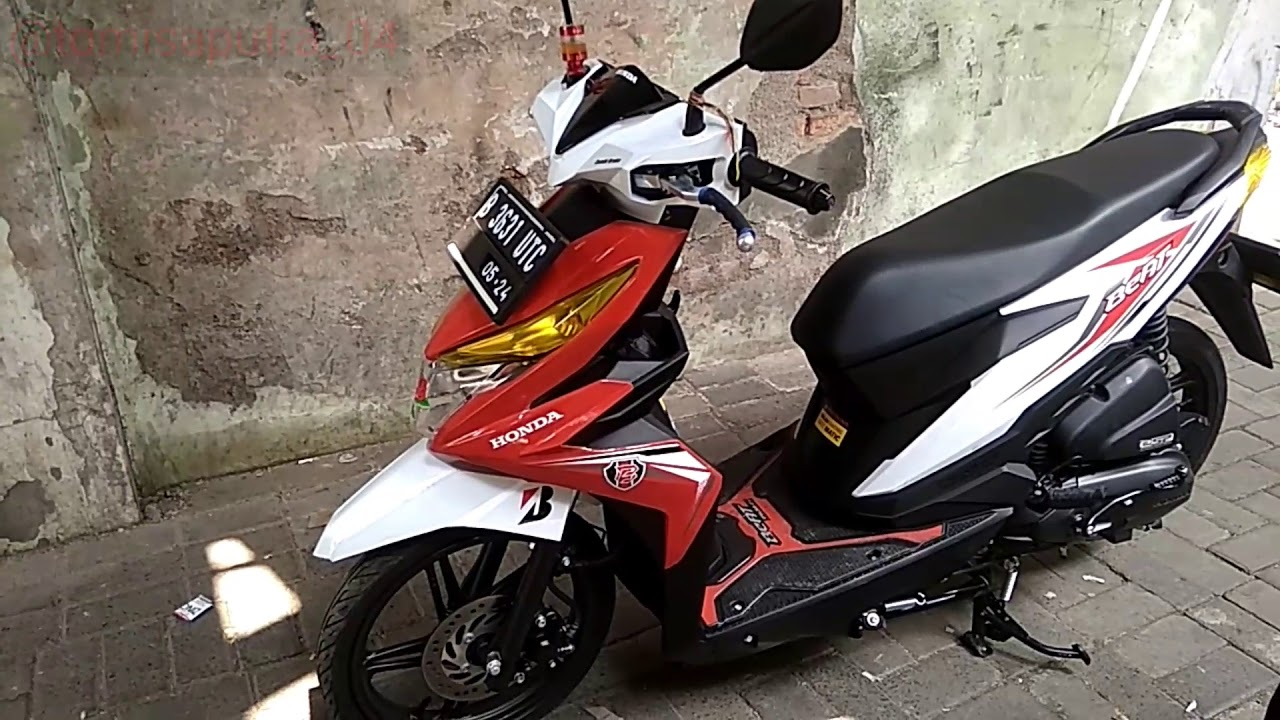Modifikasi Honda Beat New 2019 Warna Merah Putih Beat Terbaru 2019 Part 1