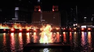 Dubai fountain water fire light show