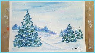 🎨Зимний снежный пейзаж гуашью! Для начинающих!