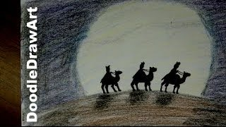Drawing: How To Draw Three Wise Men in Silhouette - Easy Drawing Tutorial [HD]