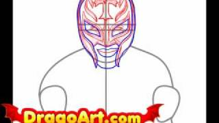 How to draw Rey Mysterio, step by step
