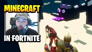 Courage Plays Minecraft INSIDE Fortnite | Daily Funny Moments Ep.458