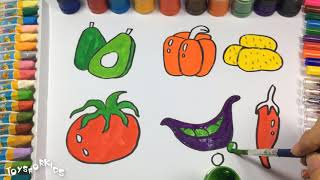 Best Learning Compilation Video for Babies,Teach Children to Draw Vegetables, Tomatoes, Peppers,