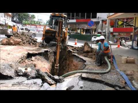 Sinkhole on corner of Coffee/Lord Street, San Fernando, Trinidad - December 7, 2016