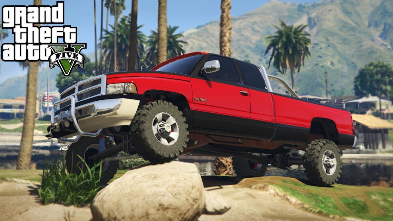 2nd Gen Dodge Ram Lifted >> LIFTED DODGE RAM 3500 2nd GEN! 4x4 Mudding, Hill Climbing, & Off-Roading! (GTA 5 PC Mods) - YouTube