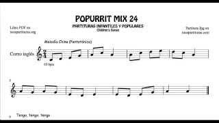 24 de 30 Popurrí Mix Partituras Populares Infantiles de Corno Inglés Melodía China Pentatónica