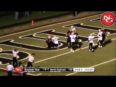 N. Gwinnett's #9 catches screen pass for TD vs Mountain View