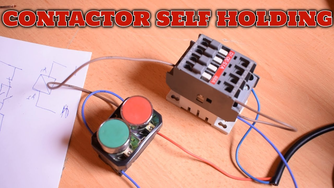 contactor self holding with push button|start stop button|on off button|ELECTERCA  - YouTube | Push On Switch Wiring Diagram Contactor |  | YouTube