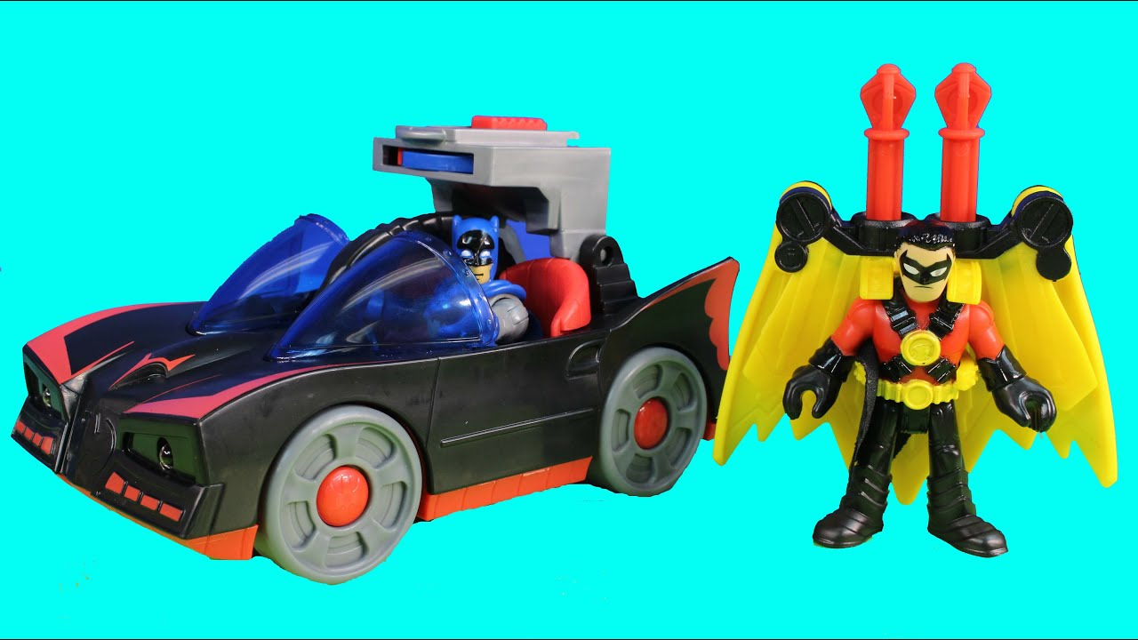 Imaginext Batmobile With Lights Batman Red Robin Launch At