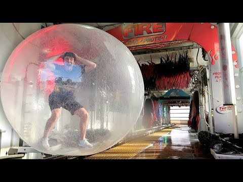GIANT ZORB BALL vs CAR WASH!! (BAD IDEA)