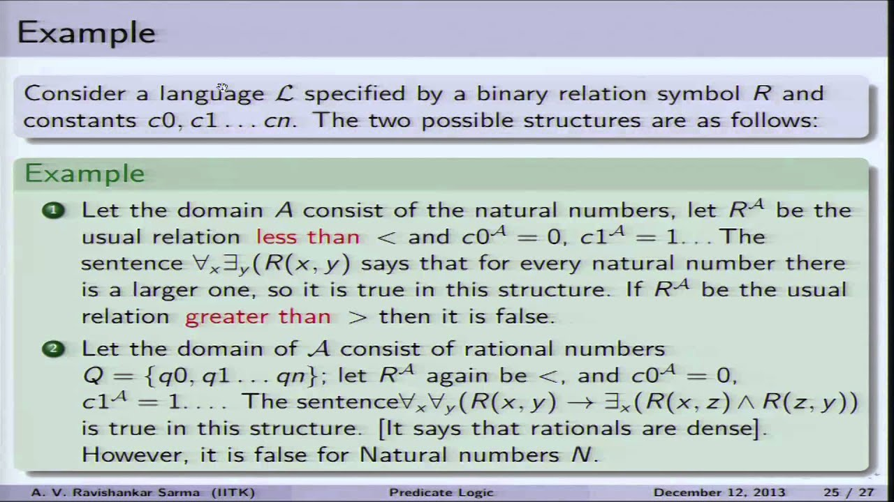 Mod-01 Lec-38 Truth, satisfiability, validity in Predicate Logic