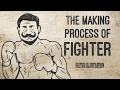 The making process of retro style  boxer illustration