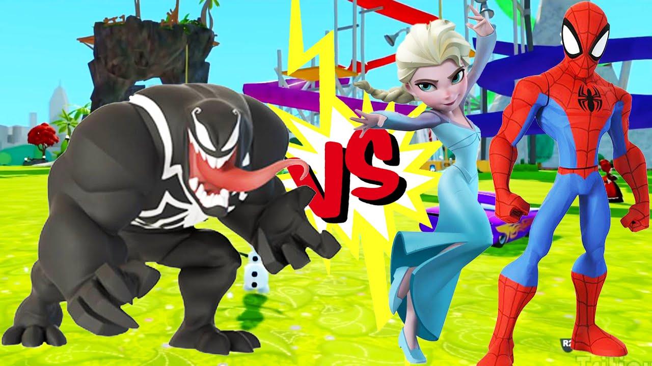 Человек паук и Королева Эльза против Веном в сказочном ...