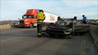 MUSTANG CRASH AND FLIPS OVER GOING 100 MPH +