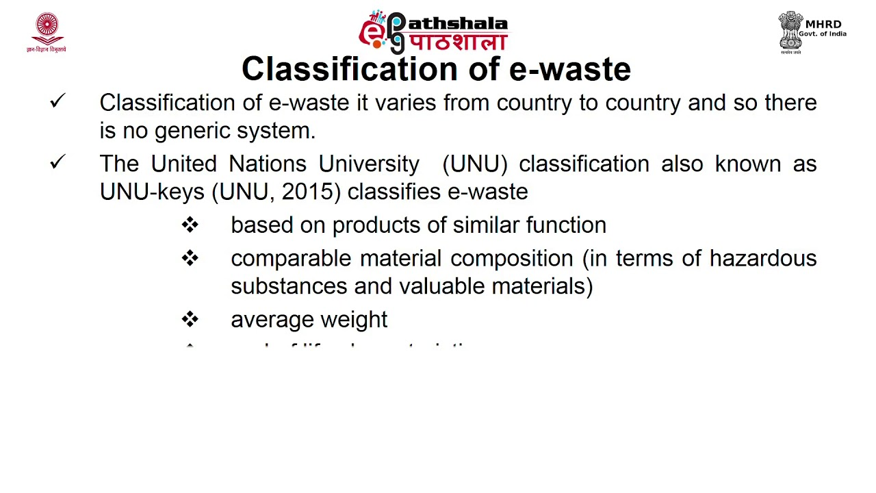 e-waste: definition, sources, classification, collection