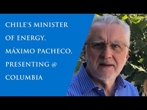 Chile's Minister of Energy presenting on campus