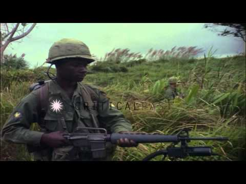 US Army 1st Air Cavalry Division soldier with an E63 personnel detector, in  Ankh...HD Stock Footage