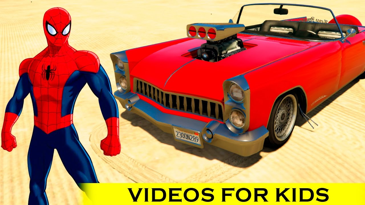 Spiderman Color old car with Cars Cartoon Children Song Nursery ...