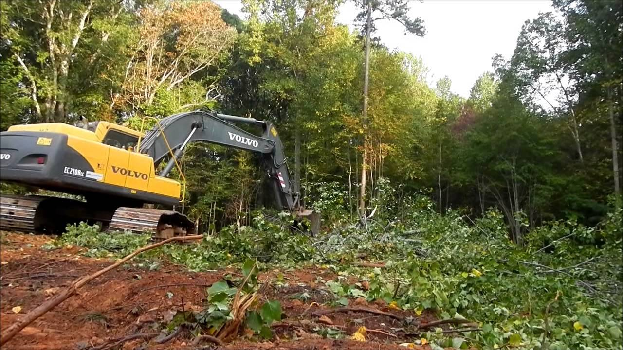 Excavator Clearing Land Youtube