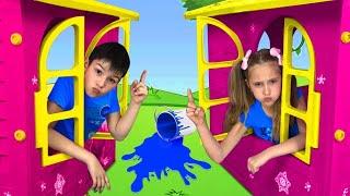 ساشا ومجموعة من الألعاب المضحكة مع بيوت اللعب الملونة