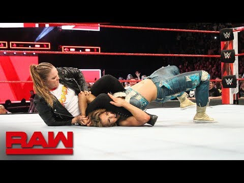 Ronda Rousey locks Mickie James in an armbar during the main event: Raw, April 23, 2018