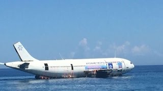 Airbus plane landed on sea in kuşadası Turkey latest news Kuşadasında denize uçak indirildi(Airbus plane landed on sea in kuşadası Turkey.An Airbus A300 plane is seen on water as it will be sunk in the waters of the Aegean Sea off the coast of ..., 2016-06-04T12:41:18.000Z)