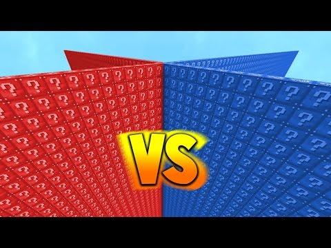 RED VS BLUE 2v2 LUCKY BLOCK WALLS!  Minecraft Mods