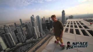 Space Chariot Hoverboard Tricks on rooftop in Dubai