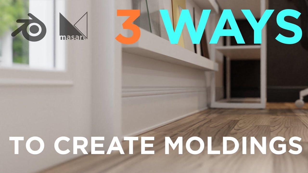 How to create MOULDINGS in 3 ways - Blender Tutorial