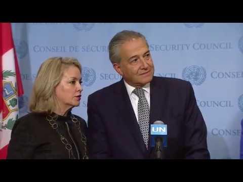 Óscar Naranjo & María Ángela Holguín Cuéllar on Colombia - Media Stakeout (19 Apr 18)
