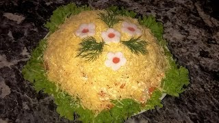 Французский салат. Слоеный салат с ветчиной и сыром.