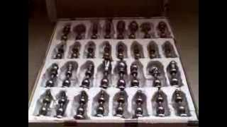 Italfama Chess Set Brass Pieces Box Damage Used Italian Italy Made Vintage