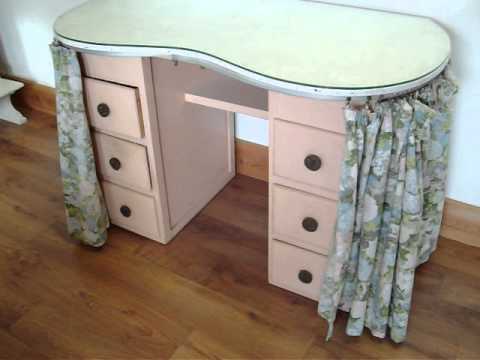 Perfect Vintage Painted Shabby Chic Kidney Shaped Dressing Table With Glass Top